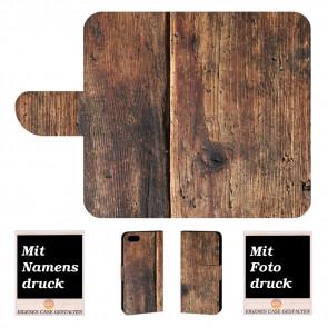 Personalisierte Handyhülle für iPhone 7 mit Holz + Fotodruck Text Logo