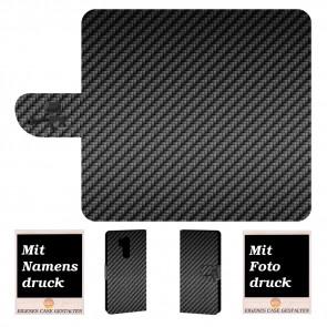 LG G7 ThinQ Personalisierte Handy Hülle mit Carbon + Foto Druck Etui