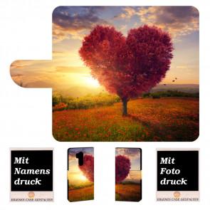 LG G7 ThinQ Schutzhülle Handy Tasche mit Herzbaum + Foto Text Druck