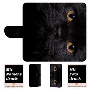 LG G7 ThinQ Personalisierte Handy Tasche mit Schwarz Katze + Foto Text Druck