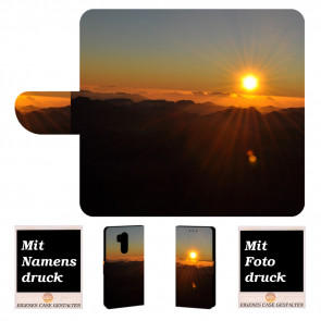 LG G7 ThinQ Handy Tasche Hülle mit Sonnenaufgang + Foto Bild Text Druck