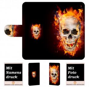 LG G7 ThinQ Handy Hülle Tasche mit Totenschädel - Feuer + Bild Druck