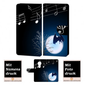 Motorola Maoto E5 Handyhülle Tasche mit Fledermaus- Mond + Fotodruck