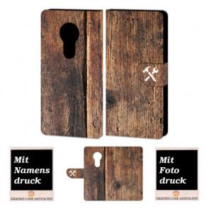 Motorola Maoto E5 Schutzhülle Handy Tasche mit Holz + Fotodruck Text
