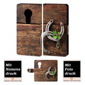 Motorola Maoto E5 Schutzhülle Handyhülle mit Holz - Hufeisen + Fotodruck