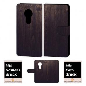 Motorola Maoto E5 Handy Hülle Tasche mit Holz Optik + Bild + Text Druck