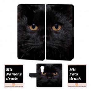 Motorola Moto E5 Play Handy Tasche mit Schwarz Katze + Fotodruck