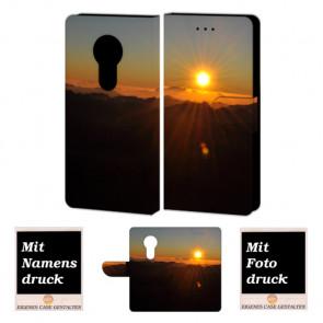 Motorola Maoto E5 Handyhülle Tasche mit Sonnenaufgang + Fotodruck