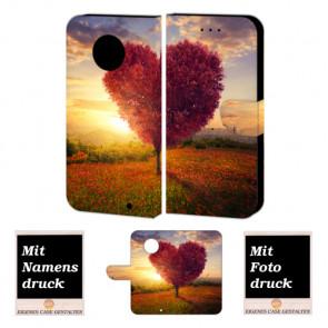 Motorola Maoto G6 Plus Schutzhülle Handy Tasche mit Herzbaum + Bild+ Text + Druck