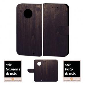 Motorola Maoto G6 Plus Handy Hülle Tasche mit Holz Optik + Bild + Text Druck Etui