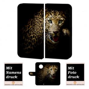 Motorola Maoto G6 Plus Schutzhülle Handy Tasche mit Leopard + Foto Druck Etui