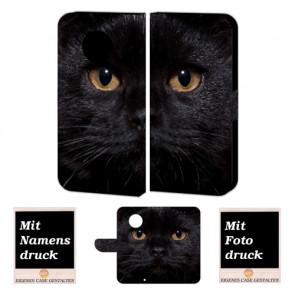 Motorola Moto G5 Plus Handy Hülle mit Schwarz Katze Fotodruck