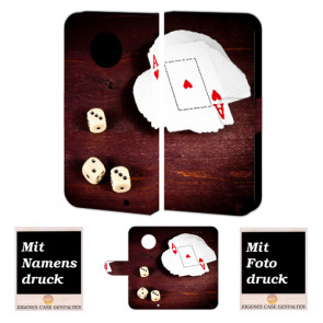 Motorola Maoto G6 Plus Handy Hülle Tasche mit Spielkarten - Würfel + Foto + Druck Etui