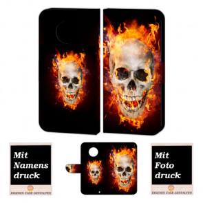 Motorola Maoto G6 Plus Handy Hülle Tasche mit Totenschädel - Feuer + Foto Druck