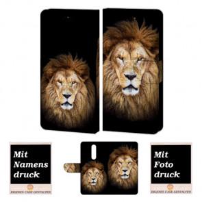 One Plus 6 Personalisierte Handy Hülle Tasche mit Löwe + Foto Text Druck