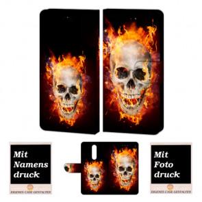 One Plus 6 Handy Hülle Tasche mit Totenschädel - Feuer + Bild Druck Etui