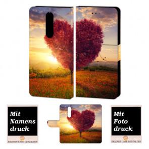 One Plus 6 Schutzhülle Handy Tasche mit Herzbaum + Foto Text Druck Etui