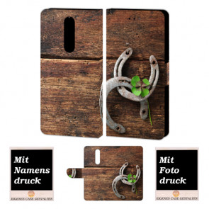 One Plus 6 Personalisierte Handy Tasche mit Holz - Hufeisen + Foto Druck