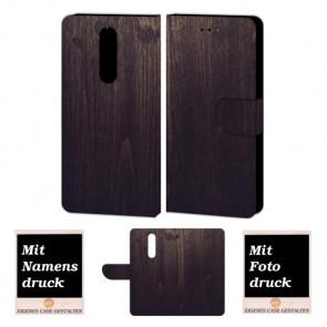 One Plus 6 Handy Schutzhülle Tasche Etui mit Holz Optik + Bild Druck