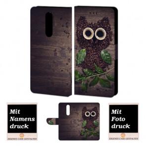 One Plus 6 Personalisierte Handy Tasche Hülle mit Kaffee Eule + Bild Druck
