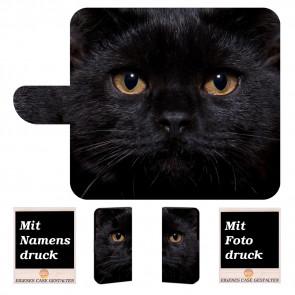 Nokia 2.1 Schutzhülle Handy Tasche mit Schwarz Katze + Fotodruck