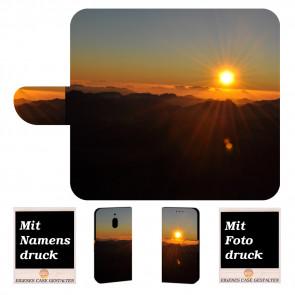 Nokia 2.1 Handy Hülle Tasche mit Sonnenaufgang + Bild Text Druck