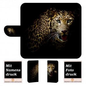Nokia 2.1 Handy Hülle Tasche mit Leopard + Bild Logo Druck Etui
