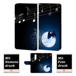 Nokia 3.1 Plus Handyhülle Tasche mit Fledermaus- Mond + Fotodruck