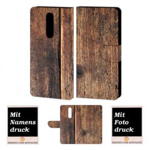 Nokia 6 (2018) Schutzhülle Handy Tasche Hülle mit Holz + Foto Text + Logo + Druck