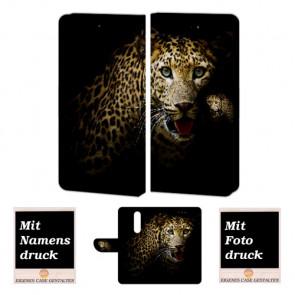 Nokia 6 (2018) Personalisierte Handy Hülle Etui mit Leopard + Foto + Text Druck