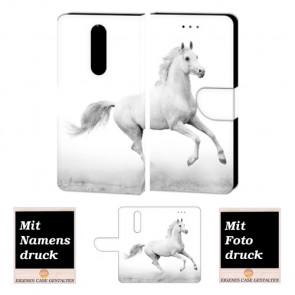 Nokia 3.1 Plus Handyhülle Tasche mit Pferd + Fotodruck Etui