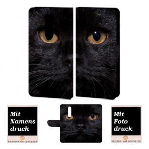 Nokia 3.1 Plus Handyhülle Tasche mit Schwarz Katze + Fotodruck Etui