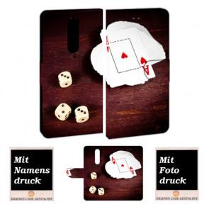 Nokia 8 Handy Hülle Tasche mit Spielkarten - Würfel + Foto + Text Logo + Druck