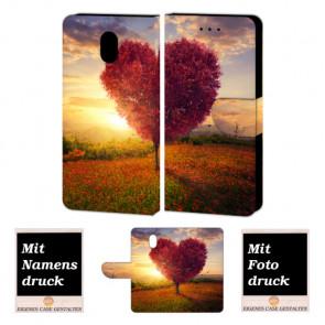 Nokia 3 Individuelle Handyhülle Tasche mit Herzbaum + Fotodruck Etui