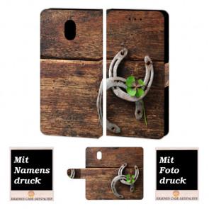 Nokia 3 Personalisierte Handy Hülle mit Holz - Hufeisen + Foto Text Druck