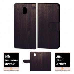 Nokia 3 Schutzhülle Tasche Handy Hülle mit Holz Optik + Fotodruck Etui
