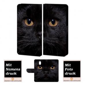 Nokia 3 Schutzhülle Handy Hülle Etui mit Schwarz Katze + Foto Druck