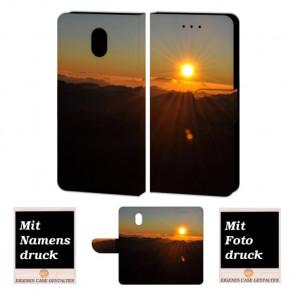 Nokia 3 Schutzhülle Handy Tasche mit Sonnenaufgang + Fotodruck Etui