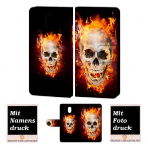 Nokia 3 Handy Hülle Tasche mit Totenschädel - Feuer + Foto Text Druck