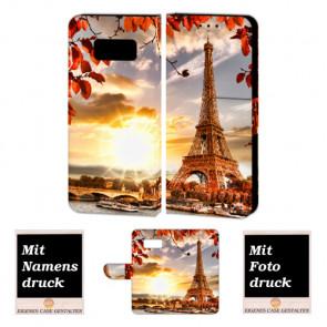 Samsung Galaxy S7 Handy Tasche Hülle mit Eiffelturm + Foto Bild Text Druck