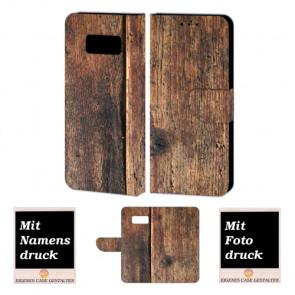 Samsung Galaxy S8 Schutzhülle Handy Tasche mit Holz + Fotodruck Text