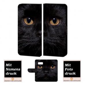 Samsung Galaxy S7 Handyhülle Tasche mit Schwarz Katze + Fotodruck