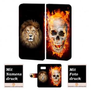Samsung Galaxy S7 Handyhülle Tasche mit Totenschädel - Löwe +Bilddruck