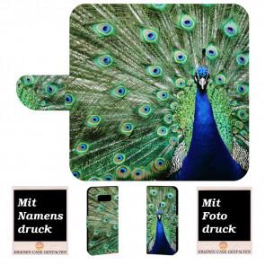 Samsung Galaxy S8 Personalisierte Handyhülle mit Pfau + Bilddruck Text