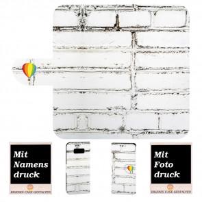 Samsung Galaxy S8 Handy Tasche mit Weiße Mauer + Fotodruck Text