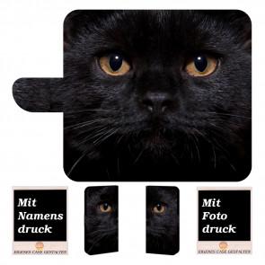 Samsung Galaxy A5 (2017) Handy Tasche Hülle mit Schwarz Katze Bilddruck
