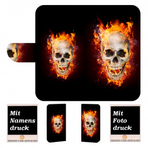 Samsung Galaxy Xcover 4s Handy Hülle mit Fotodruck Totenschädel Feuer