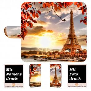 Samsung Galaxy A7 (2018) Handy Hülle Tasche mit Eiffelturm Foto Druck
