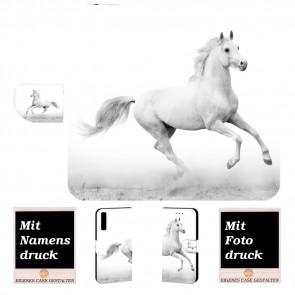 Samsung Galaxy A7 (2018) Handy Hülle Tasche mit Pferd Foto Text Druck