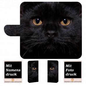 Samsung Galaxy A7 (2018) Handy Hülle Tasche mit Schwarz Katze Text Bild Druck